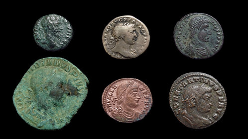 LOT of 6 ROMAN IMPERIAL & PROVINCIAL AR / AE COINS . 2nd - 4th Centuries AD