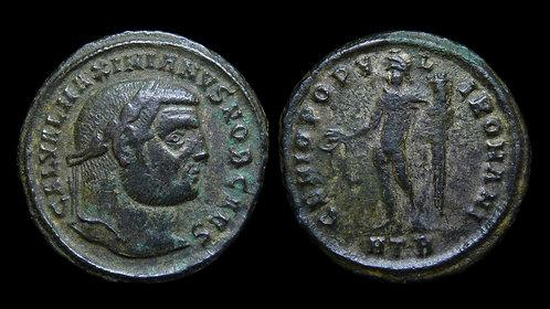 "GALERIUS, as Caesar . AD 293-305 . Follis . ""Genius"" . Heraclea"