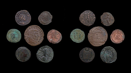 LOT of 7 ROMAN IMPERIAL COINS . 3rd - 4th century AD . Various emperors & types