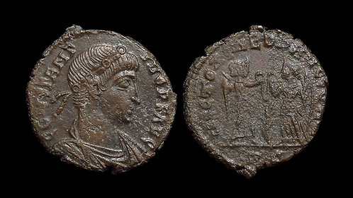 CONSTANTIUS II . AD 337-361 . AE4 . Two victories. Rome mint