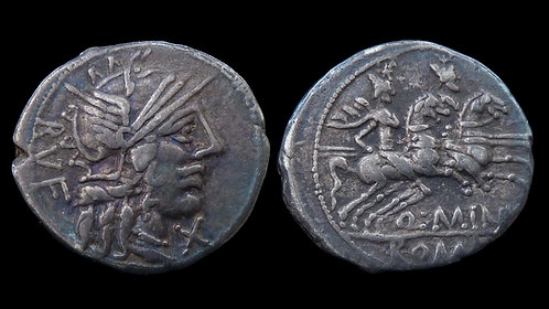 ROMAN REPUBLIC . Q. Minucius Rufus, 122 BC . AR Denarius . **Ex Huntington/ANS**