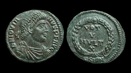 """JOVIAN . AD 363-364 . AE3 . """"Vota in wreath"""" . Sirmium"""
