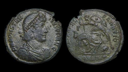 CONSTANTIUS II . AD 337-361 . AE2 . Falling Horseman . Silvered