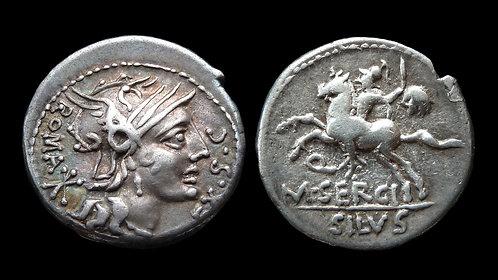 ROMAN REPUBLIC . M Sergius Silus, 116/5 BC . Denarius . Silus with severed head