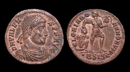 VALENS . AD 364-378 . AE3 . Emperor dragging captive . Siscia