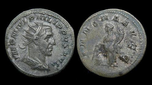 PHILIP THE ARAB . AD 244-249 . AR Antoninianus . Annona . *Pedigreed*