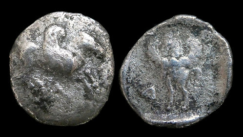 AKARNANIA, Leukas . 450-400 BC . AR Diobol . Pegasos .  *Rare, interesting type*