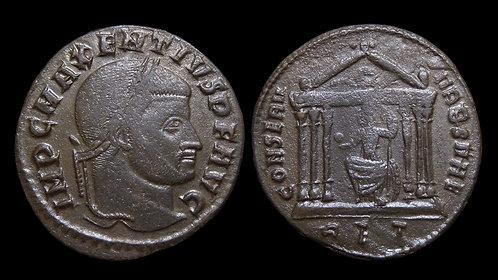 """MAXENTIUS . AD 306-312 . Follis . """"Temple of Roma"""" . Rome"""