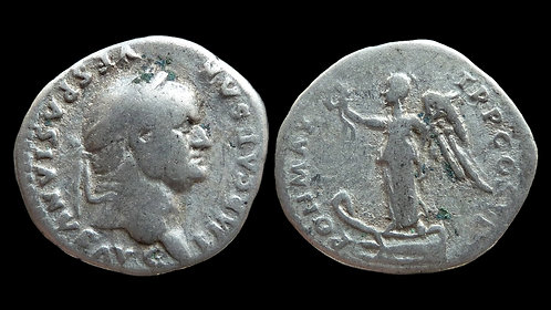 "VESPASIAN . AD 69-79 . Denarius . ""Victory on prow"""
