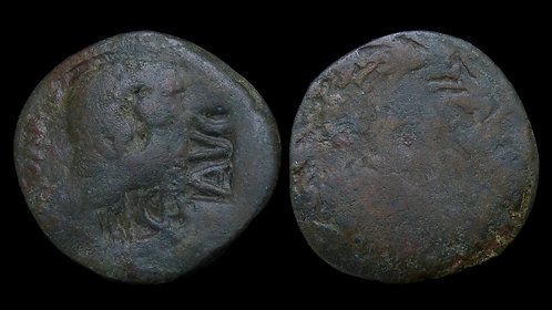 AUGUSTUS . 27 BC - AD 14 . AE As . Countermarked and retarrifed under Claudius