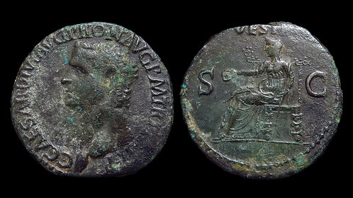 CALIGULA . AD 37-41 . AE As . Most Infamous of Roman Emperors *Pedigreed*