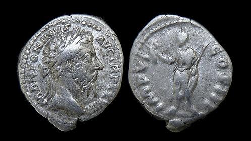 MARCUS AURELIUS . AD 161-180 . AR Denarius . Emperor holding branch