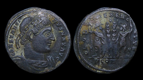 """CONSTANTINE I . AD 306-337 . AE3 . """"Glory of the Army"""" . Ex Clain-Stefanelli"""