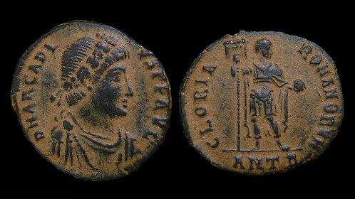 ARCADIUS . AD 383-408 . AE2 . Emperor holding standard . Desert patina