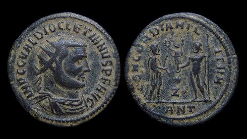 "DIOCLETIAN . AD 284-305 . Radiatus . ""CONCORDIA MILITVM"" . Antioch"