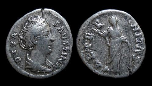 FAUSTINA I . AD 138-140 . AR Denarius . Wife of Antoninus Pius