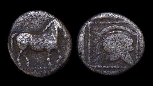 MACEDONIA, KINGDOM OF . Perdikkas II, 451-413 BC . AR Tetrobol . Horse / Helmet