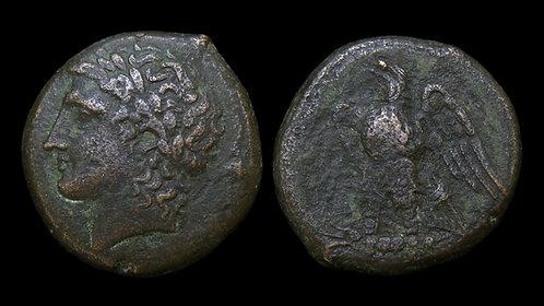 SICILY, Syracuse . Hiketas II, 287-278 BC . AE23 . Zeus Hellanios / Eagle