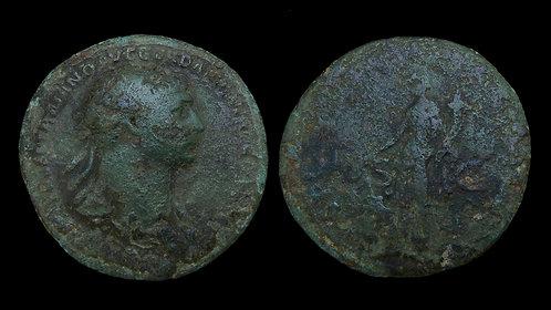TRAJAN . AD 98-117 . AE Sestertius . Fortuna . Massive 34mm bronze!