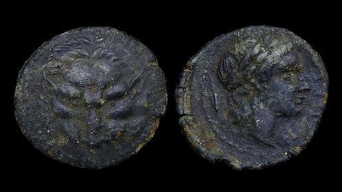 BRUTTIUM, Rhegion . Circa 350-280 BC . AE17 . Lion's scalp