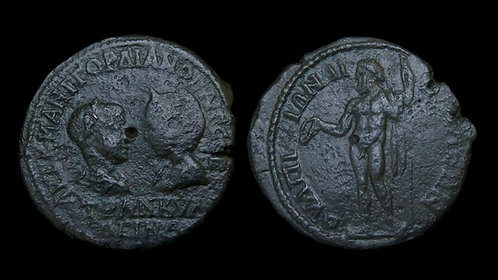 GORDIAN III with TRANQUILLINA . THRACE, Anchialus . AE28 . Zeus . Scarce