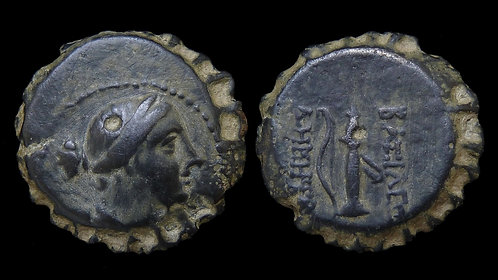 "SELEUKID KINGDOM . Demetrios I Soter, 162-150 BC . AE21 Serrate . ""Bottlecap"""