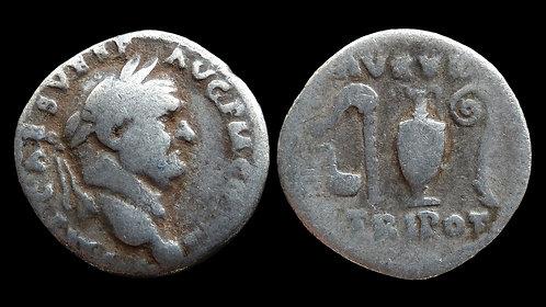 "VESPASIAN . AD 69-79 . Denarius . ""Priestly Implements"""