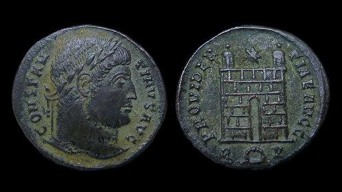CONSTANTINE I . AD 306-337 . AE3 . Campgate . Rome