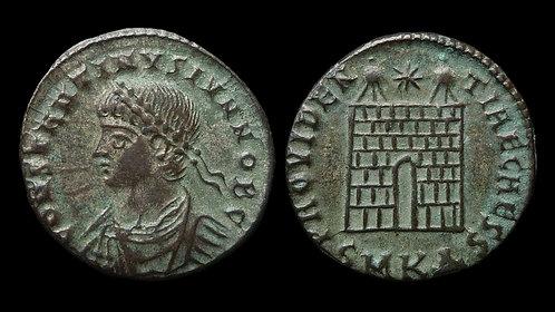 CONSTANTINE II, as Caesar . AD 316-337 . AE3 . Beautiful silvered Campgate