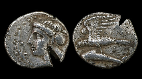 PAPHLAGONIA, Sinope . 330-300 BC . AR Drachm . Test cut in antiquity