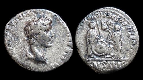 AUGUSTUS . 27 BC - AD 14 . AR Denarius . Gaius & Lucius - Grandsons of Augustus