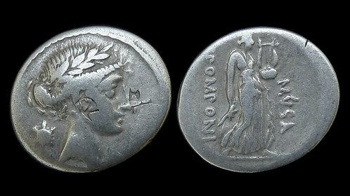 ROMAN REPUBLIC . Q Pomponius Musa, 56 BC . Denarius . Terpsichore, Muse of Dance