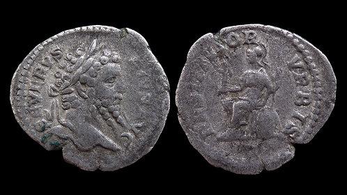 """SEPTIMIUS SEVERUS . AD 193-211 . Denarius . """"Roma"""""""