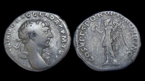 "TRAJAN . AD 98-117 . AR Denarius . ""Victory against the Dacians"""
