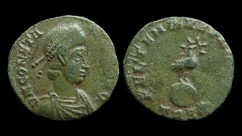 "CONSTANS . AD 337-350 . AE3 . ""Phoenix on Globe"""