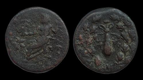 CILICIA, Tarsos . 1st century BC . AE19 . Zeus Enthroned / Club
