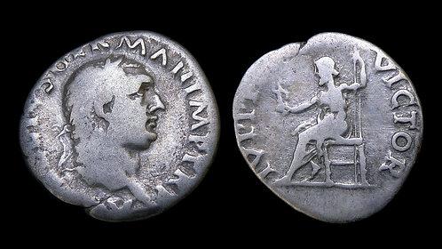 VITELLIUS . AD 69 . AR Denarius . Jupiter seated . Scarce
