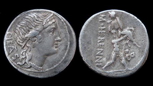 ROMAN REPUBLIC . M. Herennius, 108 BC . Denarius . Amphinomus . Ex Berk & Pegasi