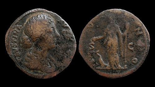 """FAUSTINA II . AD 161-175 . As . """"Juno, Queen of the Gods"""""""