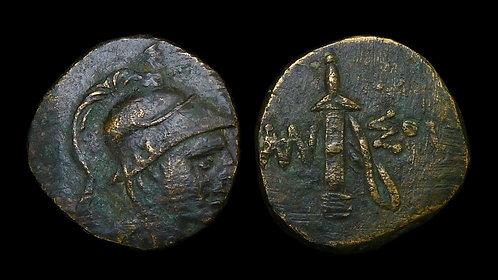 PONTOS, Amisos . Mithradates VI, 120-63 BC . AE21 . Ares / Sheathed Sword