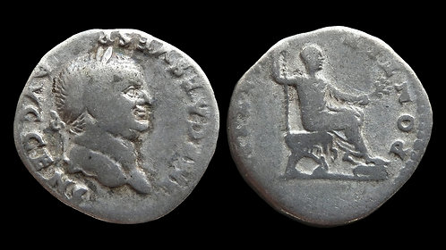 "VESPASIAN . AD 69-79 . Denarius . ""Emperor on Curule chair"""