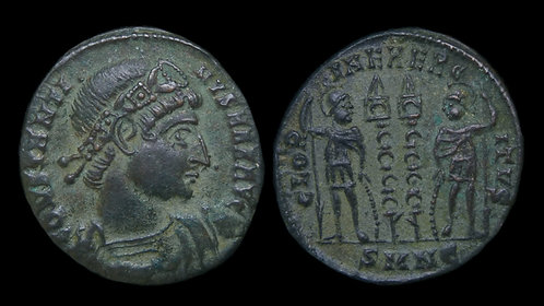 "CONSTANTINE I . AD 306-337 . AE3 . ""Glory of the Army"" . Nicomedia"