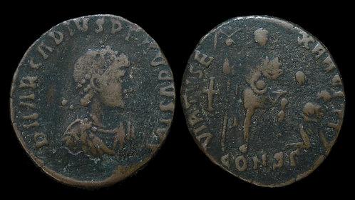 ARCADIUS . AD 383-408 . AE2 . Scarce AVGVSTVS obverse legend