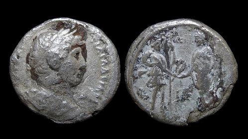 HADRIAN . EGYPT, Alexandria . Billon Tetradrachm . Alexandria greeting Emperor