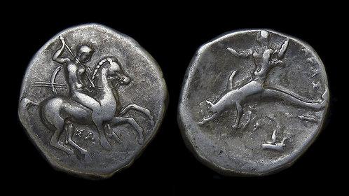 CALABRIA, Tarentum . 332-302 BC . AR Didrachm . Dolphin-rider