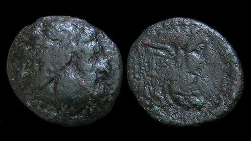 AKARNANIA, Oiniadai . 219-211 BC . AE22 . Man-faced bull river god Achelous