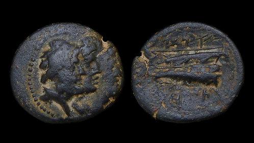 PHOENICIA, Arados . 136/135 BC . AE18 . Jugate heads of Zeus & Astarte