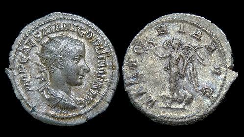 GORDIAN III . AD 238-244 . AR Antoninianus . Victory *Beautiful and Pedigreed*