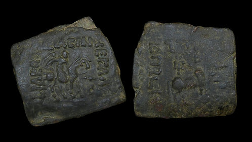 INDO-SKYTHIANS . Azes, 58-12 BC . AE Hexachalkon . Scarce square bronze unit