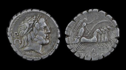 ROMAN REPUBLIC . Q Antonius Balbus, 82 BC . Serrate Denarius . Anti-Sullan Issue